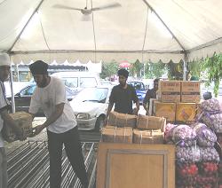 Volunteers receiving supplies