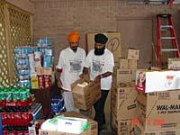 UNITED SIKHS volunteers organising supplies brought in.